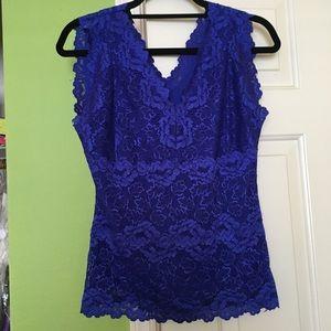 INC cobalt blue sleeveless lace top.